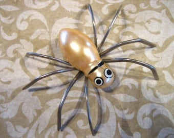Art Deco Large Pearlescent Enamel Spider Pin