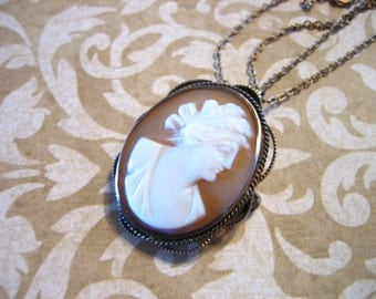 Vintage GF Carved Shell Cameo Brooch / Necklace