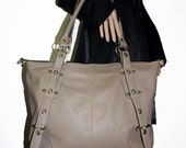 """Taupe leather tote bag ,leather handbag , leather shopper tote, leather cross-body bag Travel Weekend Bag Nora XL 17"""""""