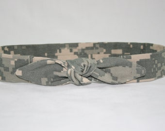ACU Army Baby Headband with Tie Hairbow Military Digital Camo