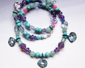 Turquoise and amethyst beaded necklace Colorful aqua and purple gemstone choker Gift for Mom Bohemian jewelry on sale