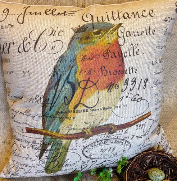 Bird Pillow Cover  18x18  French Script and Burlap Pillow Slip Blue Bird by Gathered Comforts