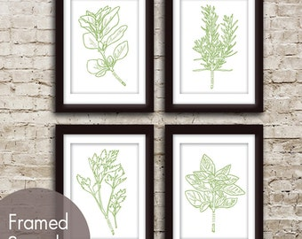 Herb Garden Series Set of 4 - Art Prints (Featured in White and Grass Green) Over 30 Colors to choose from