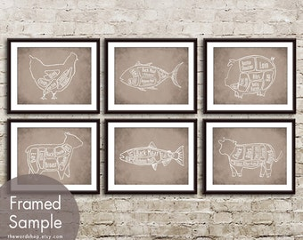 Butcher Diagram Series Set of 6 - Art Print (Featured in Vintage Parchment) Chicken, Tuna, Pig, Lamb, Salmon and Cow