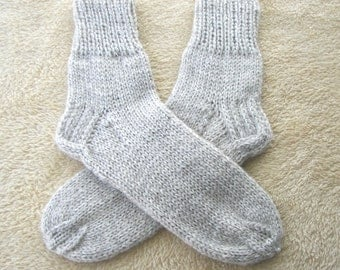 Chunky HAND Knit Socks in UNDYED Natural New Zealand WOOL