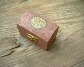 Little Wooden Box Trunk style with Vintage Buttons