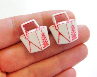 Chinese Takeout Stud Earrings