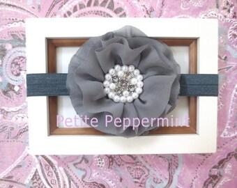 Gray Baby headband, baby girl headband, grey baby headband, toddler headband - Gray Flower Baby Headband
