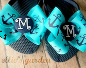 Boutique Style Anchor Bow Monogrammed Initial Button Ribbon Wrapped Flip Flops Turquoise Navy Blue