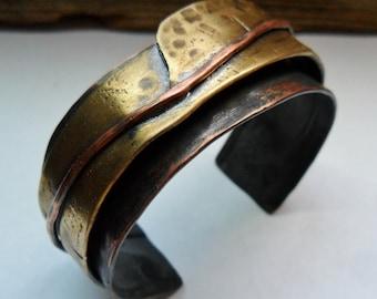 Mixed Metals Copper Brass Mens Womens Textured Cuff Bracelet