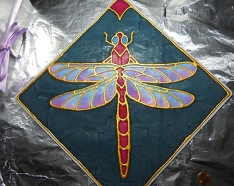 Dragonfly Silk sun catcher hand painted 14 inches