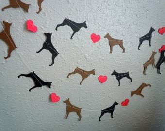 Doberman Love Paper Garland - Valentine's Day Decor - Choose Your Colors