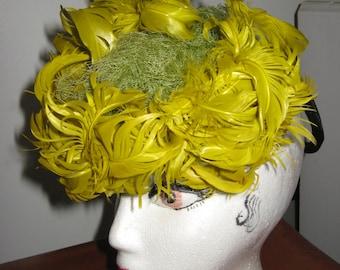 Feather Hat Stunning Fascinator Torch Singer Starlet Style Marlene Dietrich Rare Hat SWing Era Cabaret Singer Bright Yellow Green Feathers