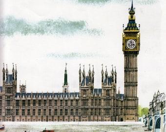 BIG BEN print, vintage LONDON print Houses of Parliament, Thames River,  mid century illustration