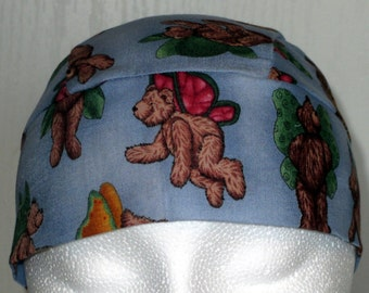 Blue Skull Cap w Flying Bears, Chemo Cap, Hats, Motorcycle, Hair Loss, Bald, Biker, Caps, Do Rag, Handmade, Alopecia, Christmas,Surgical Cap