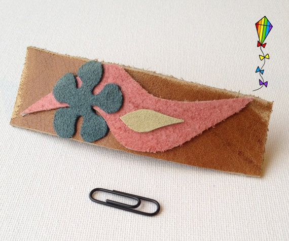 Large Hair Clip made from Reclaimed Leather - April Flower Design