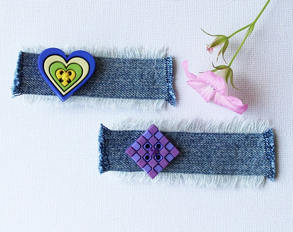 Grape Heart and Checked Square Hair Accessories. Pair of green and purple hair clips - heart shaped hair accessories for girls.