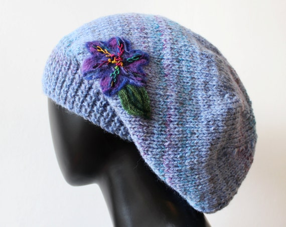 Winter Skies Blue Slouch Hat - Beautiful Knitted Winter Hat - Blue Baggy Tam Hat
