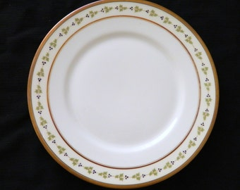 Limoges U C France M.F. & Co Chicago Luncheon Plate Gold Trim Green Holly Leaves