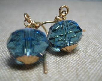 Sea Blue Czech Glass Earrings