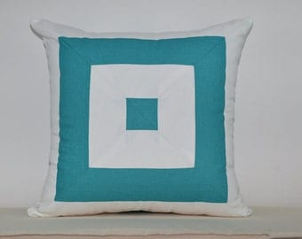 Teal blue mitered pillow cover