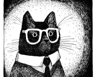 Mr Cat is Going to Work cat wearing glasses print of an Original Illustration