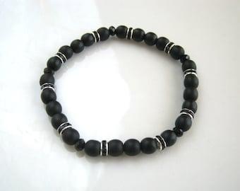 Black Rhinestone Stretch Bracelet Black Stretch Bracelet Black Bracelet