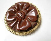 Bakelite Brooch Carved Brown Clover Flower Vintage Pin
