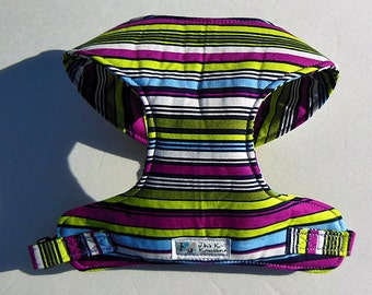 Multi-color Stripe Comfort Soft Dog Harness. - Made to order -