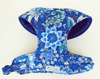 Blue and Gold Metalic Flower Comfort Harness. - Made to order -