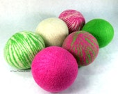 Wool Dryer Balls - Pink & Green Zebra Dreams - Set of 6 Eco Friendly - Can be Scented or Unscented