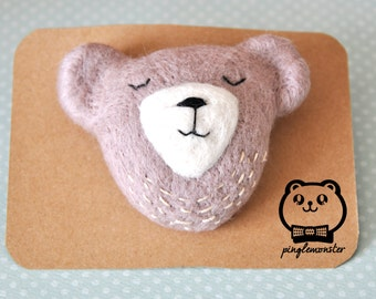 Handmade needle felted teddy bear brooch with stitches