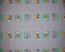 An Adorable Baby Looney Tunes Bugs Bunny, Tweety And More Quilted Fabric By The Yard-Free US Shipping