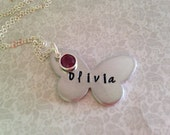 Butterfly girls name necklace / Personalized with birthstone girls daughter niece grandaughter friend child childrens