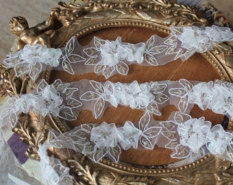 Cute  embroidered and beaded organza flower   trim 1  yards listing
