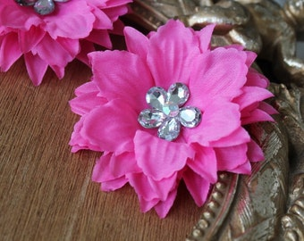Hot pink    color  organza flower with rhinestone 2 piece listing
