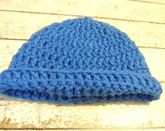 Clearance Blue Crochet Hat Ready To Ship Size NB