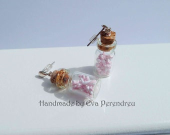 Tiny marshmallows in a glass bottle earrings