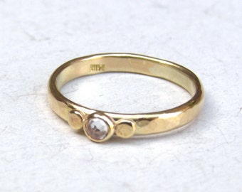 Hand made engagement ring ,solid gold ring ,14k gold ring ,White Topaz , Lab diamond ring, Wedding ring, Solitaire ring, Promise ring.