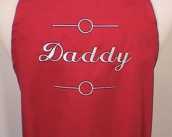 Personalized Apron Full Apron Mens Custom Embroidered Daddy Red White