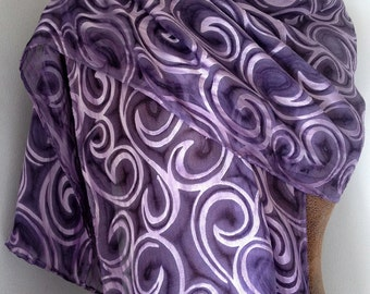 Purple Satin Silk Devore Burnout Scarf