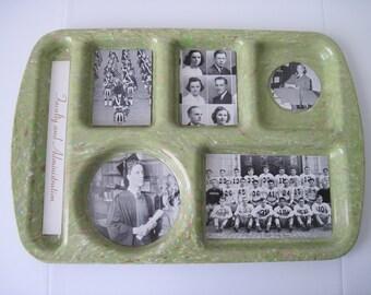 Vintage RETRO LUNCH TRAY - Green Confetti Prolon