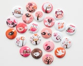 Flat Back Buttons - Valentine Critters (Set of 20)