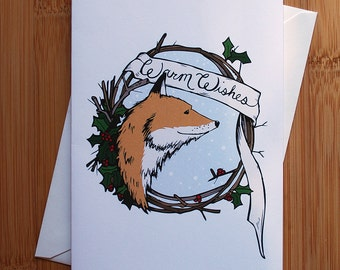 10/pk Warm Wishes Fox Greeting Card - Blank Inside