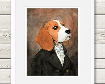 Beagle Art - Regal Beagle Raeburn - Beagle Portrait - beagle painting, dog art, dog print, dog painting