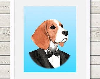 Beagle Art - Beagle Groom Dog Portrait Painting - Wedding Dog Art, beagle portrait, beagle painting, dog gift