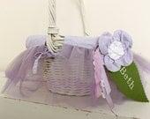 Large Easter Basket Liner -- Purple Tulle With Flower -- Free Monogram --