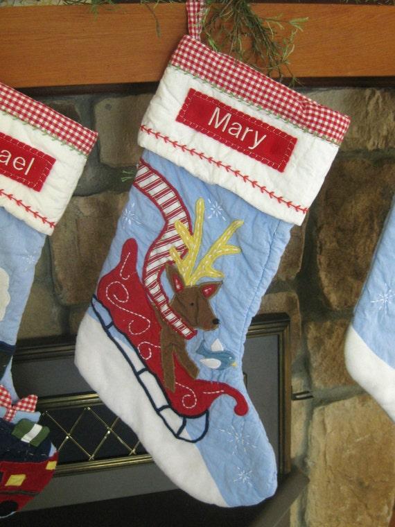 Items Similar To Christmas Stocking With Monogram Pottery