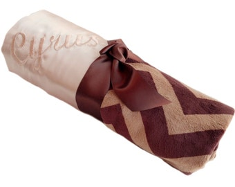 Latte Satin with Brown and Latte Minky Chevron Baby Blanket Personalization Included over 35 fonts to choose fro