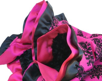 Black and Pink Damask Cotton Baby Blanket With Black Minky Back and Black and Hot Pink Double Ruffle Trim